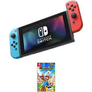 Switch with Neon Blue and Red Controllers & Super Mario Odyssey Kit