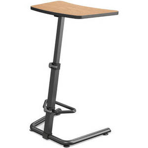 Up-Rite Height Adjustable Sit/Stand Desk (Castle Oak Finish, Black Edge)