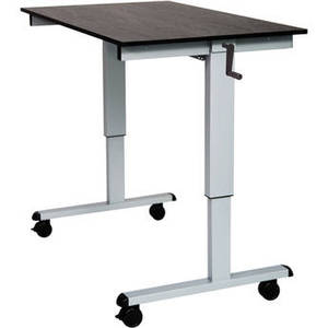 "48"" Crank Adjustable Stand-Up Desk (Black Oak Desk, Silver Frame)"