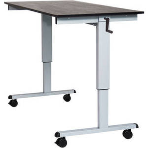 "60"" Crank Adjustable Stand-Up Desk (Black Oak Desk, Silver Frame)"