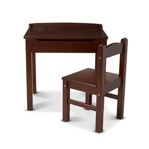 Kids Wooden Lift-Top Desk & Chair Espresso